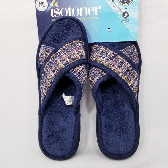 Isotoner Nikki X Novelty Tweed Slippers - NWT